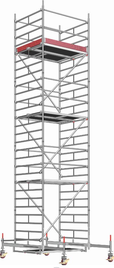 Mobilūs bokštelis Uni Compact P2. Darbinės platformos plotas: 1,5 x 1,8 m 1