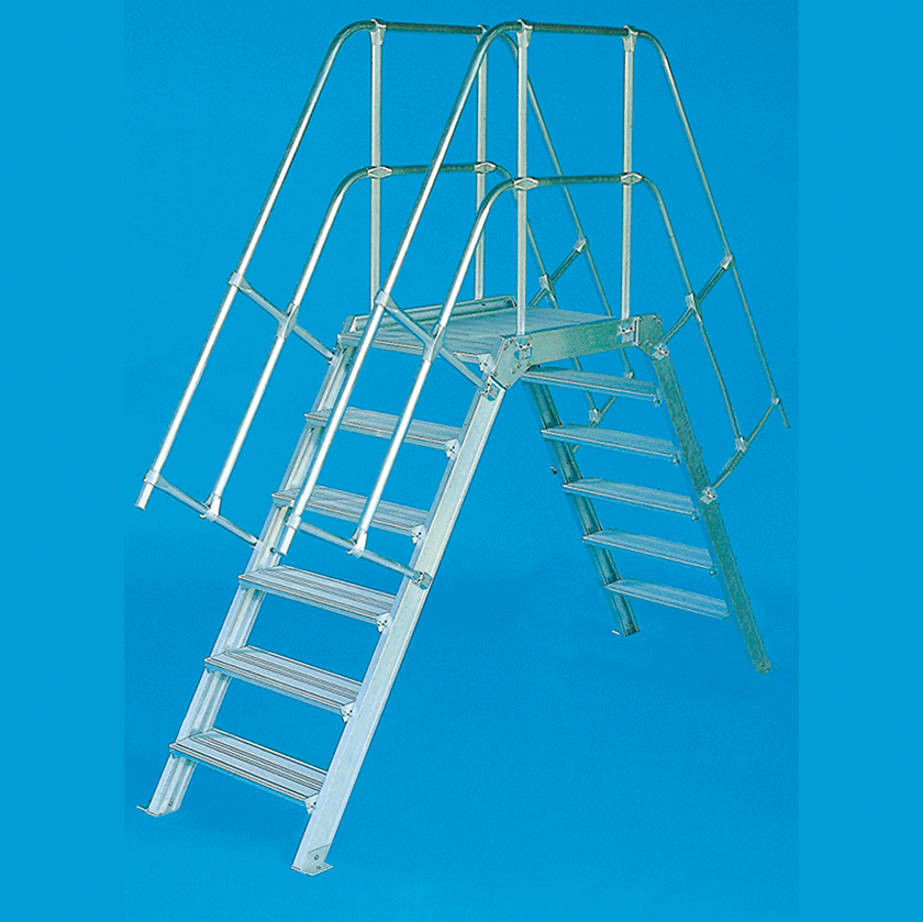 Alu stacionarūs arba kilnojami laiptai su tilteliu 114 1